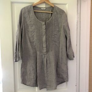 Poetry Gray Linen Tunic Shirt Size 12